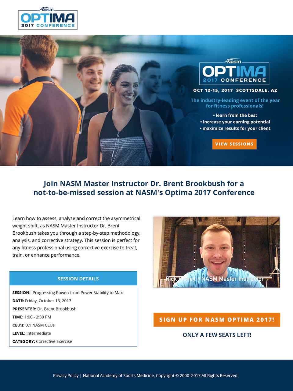 NASM Optima Landing Page